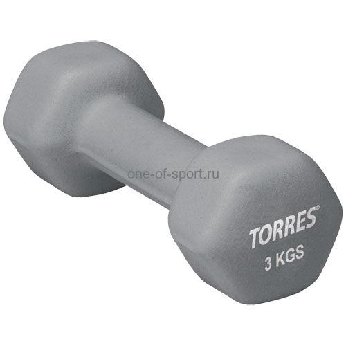 Гантель Torres (неопрен) 3 кг арт.PL50013