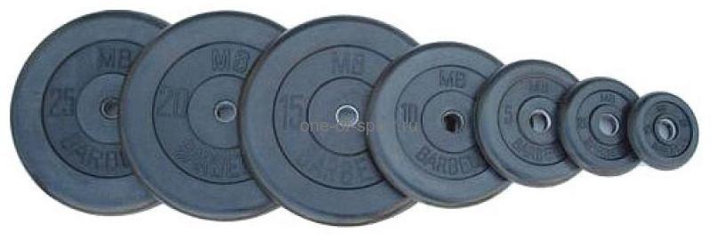Диск обрезин. (черный) Barbell d 26 мм 1 кг