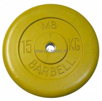 Диск обрезин. (желтый) Barbell d 51 мм 15 кг